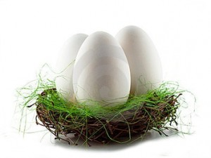 гусиные яйца в корзине