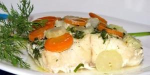 Палтус запеченный в фольге с грибами, сыром и болгарским перцем