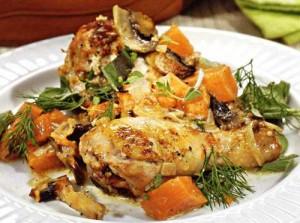 курица запеченная с грибами