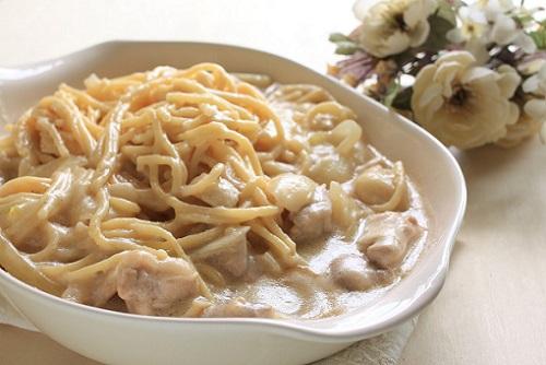 Печень с грибами в сливочном соусе