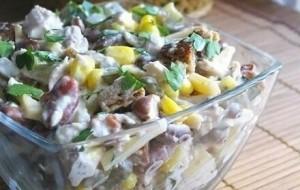 Салат со шпротами и фасолью